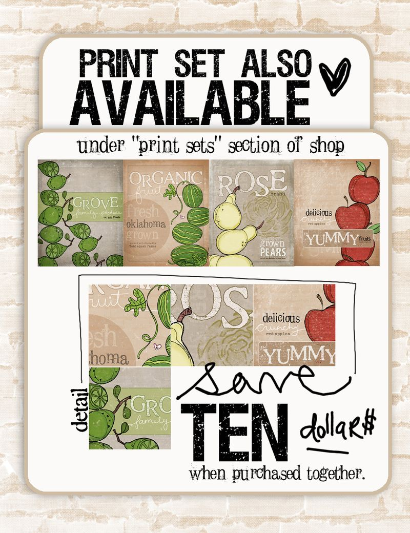 Print set vintage crate label series available