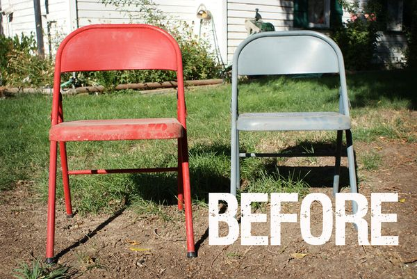 before and after painted metal folding chairs. Black Bedroom Furniture Sets. Home Design Ideas