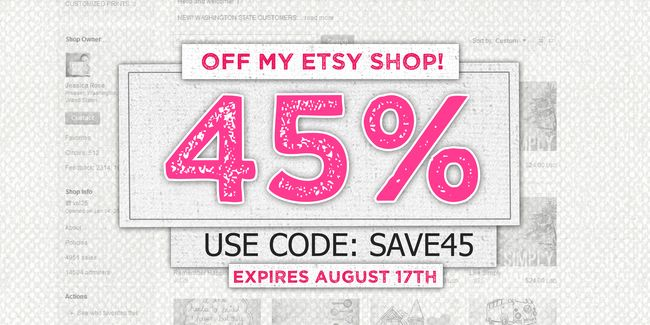 SAVE 45 ETSY AUG