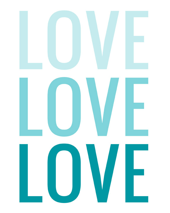 LOVE TYPOGRAPHY OMBRE TURQUOISE WEB